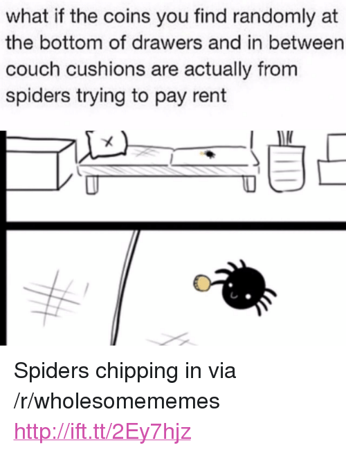 """drawers: what if the coins you find randomly at  the bottom of drawers and in between  couch cushions are actually from  spiders trying to pay rent <p>Spiders chipping in via /r/wholesomememes <a href=""""http://ift.tt/2Ey7hjz"""">http://ift.tt/2Ey7hjz</a></p>"""