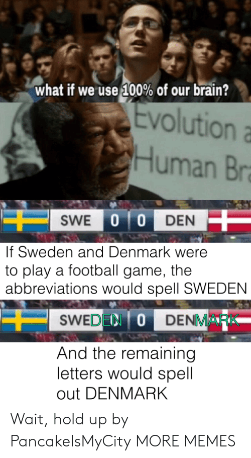 Denmark: what if we use 100% of our brain?  Evolution  Human Br  SWE 0 0 DEN  If Sweden and Denmark were  to play a football game, the  abbreviations would spell SWEDEN  SWEDEN ODENMARK  And the remaining  letters would spell  out DENMARK Wait, hold up by PancakeIsMyCity MORE MEMES