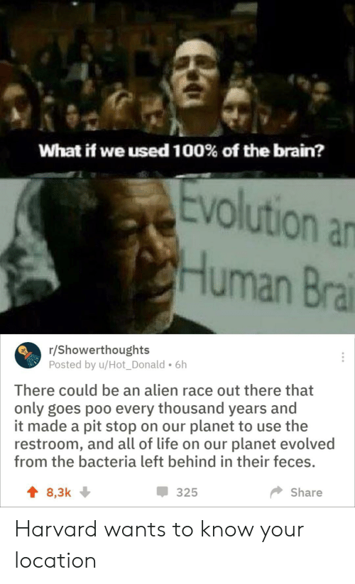 Left Behind: What if we used 100% of the brain?  Evolution an  Human Bra  /Showerthoughts  Posted by u/Hot_Donald. 6h  There could be an alien race out there that  only goes poo every thousand years and  it made a pit stop on our planet to use the  restroom, and all of life on our planet evolved  from the bacteria left behind in their feces.  325  Share  t 8,3k Harvard wants to know your location