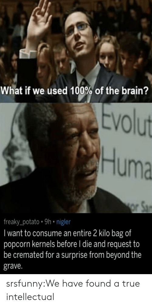 Consume: What if we used 100% of the brain?  volut  Huma  reaky_potato 9h nigle  I want to consume an entire 2 kilo bag of  popcorn kernels before l die and request to  be cremated for a surprise from beyond the  grave. srsfunny:We have found a true intellectual