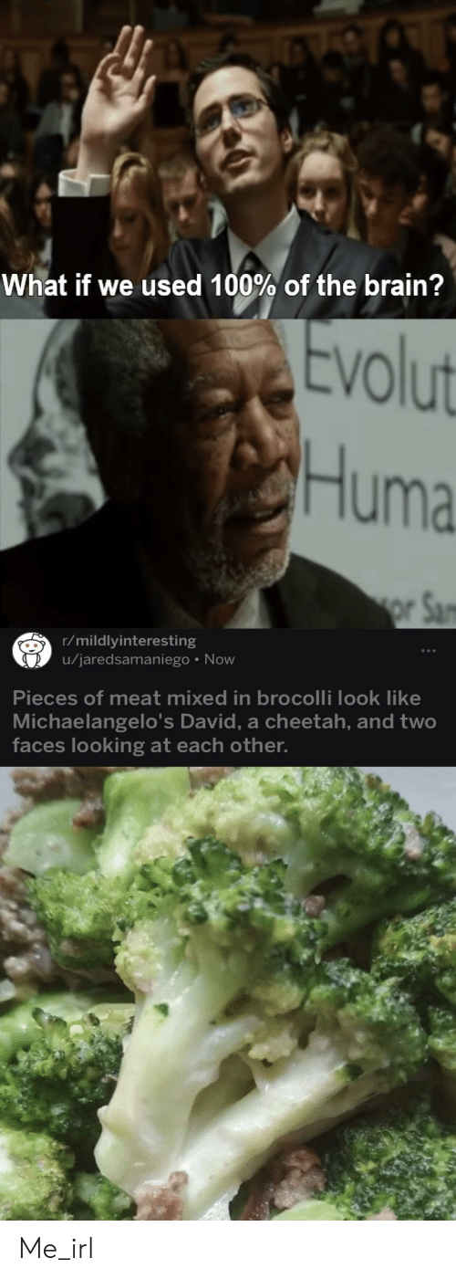 brocolli: What if we used 100% of the brain?  volut  VO  Huma  r/mildlyinteresting  u/jaredsamaniego Now  Pieces of meat mixed in brocolli look like  Michaelangelo's David, a cheetah, and two  faces looking at each other Me_irl
