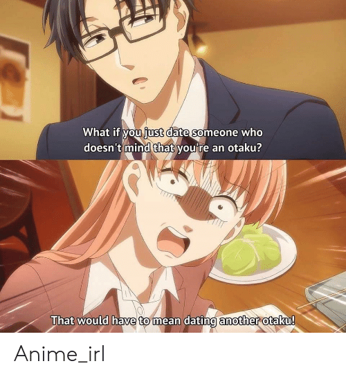 otaku: What if you iust date someone who  doesn't mind that you're an otaku?  That would have to mean dating another otaku!  mean dating amother Anime_irl