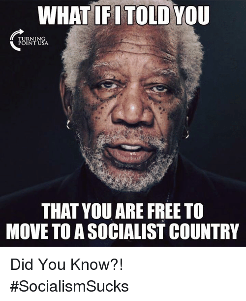 Memes, Free, and Socialist: WHAT IFI TOLD YOU  TURNING  POINT USA  THAT YOU ARE FREE TO  MOVE TO A SOCIALIST COUNTRY Did You Know?! #SocialismSucks