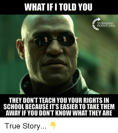 Memes, School, and True: WHAT IFI TOLD YOU  TURNING  POINT USA  THEY DON'T TEACH YOU YOUR RIGHTSIN  SCHOOL BECAUSE ITS EASIER TO TAKE THEM  AWAY IF YOU DON'T KNOW WHAT THEY ARE True Story... 👇