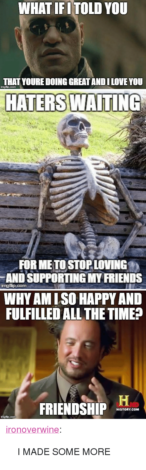 """lso: WHAT IFITOLD YOU  THAT YOURE DOING GREAT ANDI LOVE YOU  imgfip.com   HATERS WAITING  FOR ME TO STOP LOVING  AND SUPPORTING MY FRIENDS   WHYAM LSO HAPPY AND  FULFILLED ALL THE TIMEP  FRIENDSHIP  HISTORY.COM  ingflip.com <p><a href=""""http://ironoverwine.tumblr.com/post/146916828887/i-made-some-more"""" class=""""tumblr_blog"""">ironoverwine</a>:</p>  <blockquote><p>I MADE SOME MORE</p></blockquote>"""