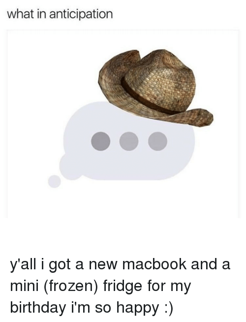 Frozen, Memes, and Macbook: what in anticipation y'all i got a new macbook and a mini (frozen) fridge for my birthday i'm so happy :)