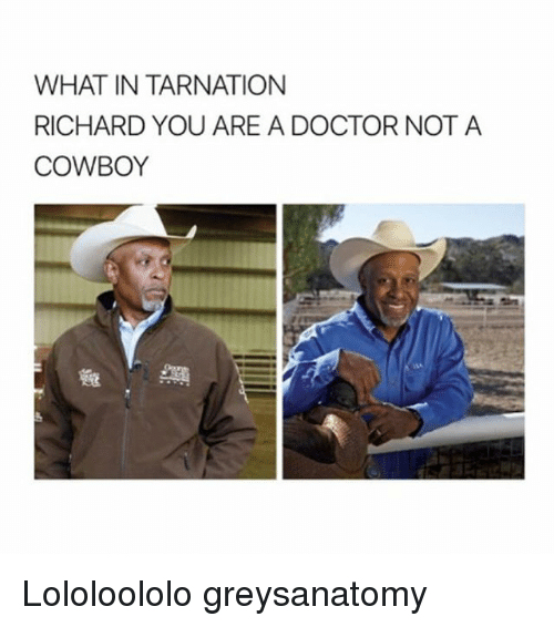 What In Tarnation: WHAT IN TARNATION  RICHARD YOU ARE A DOCTOR NOT A  COWBOY  A  OR NOT A Lololoololo greysanatomy