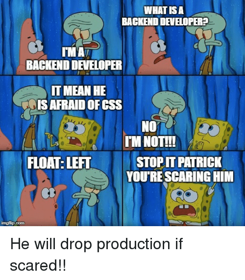 scaring: WHAT IS A  BACKEND DEVELOPER?  BACKEND DEVELOPER  IT MEAN HE  IS AFRAID OFCSS  NO  LII  FLOAT: LEFT  IM NOTT!  STOP IT PATRICK  YOU'RE SCARING HIM He will drop production if scared!!