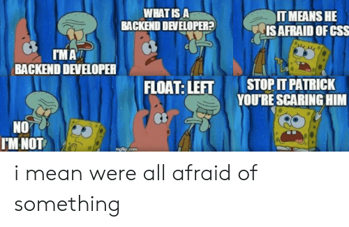 float: WHAT IS A  BACKEND DEVELOPER?  IT MEANS HE  IS AFRAID OF CSS  IMA  BACKEND DEVELOPER  STOP IT PATRICK  YOU'RE SCARING HIM  FLOAT: LEFT  NO  IM NOT  mg lip.com i mean were all afraid of something