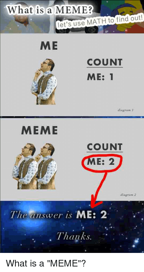 """What Is A Memes: What is a MEME?  let's use MATH to find out!  ME  COUNT  ME: 1  diagram  MEME  COUNT  E: 2  diagram  The answer is  ME: 2  Thanks What is a """"MEME""""?"""