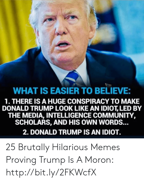 Donald Trump: WHAT IS EASIER TO BELIEVE:  1. THERE IS A HUGE CONSPIRACY TO MAKE  DONALD TRUMP LOOK LIKE AN IDIOT, LED BY  THE MEDIA, INTELLIGENCE COMMUNITY,  SCHOLARS, AND HIS OWN WORDS...  2. DONALD TRUMP IS AN IDIOT. 25 Brutally Hilarious Memes Proving Trump Is A Moron: http://bit.ly/2FKWcfX