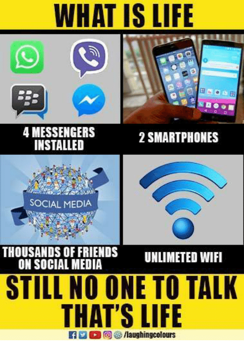 Friends, Life, and Social Media: WHAT IS LIFE  4 MESSENGERS  INSTALLED  2 SMARTPHONES  SOCIAL MEDIA  THOUSANDS OF FRIENDS UNLIMETED WIFI  STILL NO ONE TO TALK  THAT'S LIFIE  ON SOCIAL MEDIA  M困回  /laughingcolours