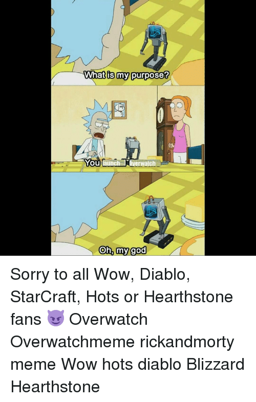 starcrafts: What is my purpose?  You une  Overwatch  Oh, my god Sorry to all Wow, Diablo, StarCraft, Hots or Hearthstone fans 😈 Overwatch Overwatchmeme rickandmorty meme Wow hots diablo Blizzard Hearthstone
