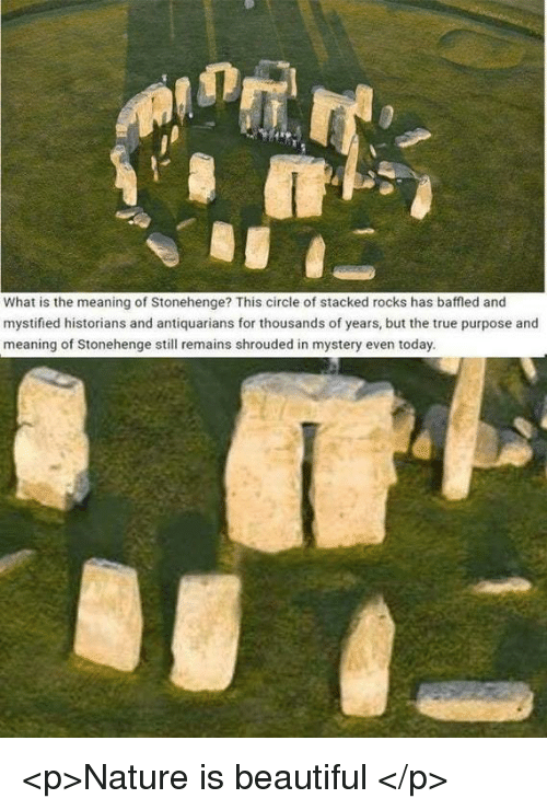 Beautiful, True, and Meaning: What is the meaning of Stonehenge? This circle of stacked rocks has baffled and  mystified historians and antiquarians for thousands of years, but the true purpose and  meaning of Stonehenge still remains shrouded in mystery even today. <p>Nature is beautiful </p>