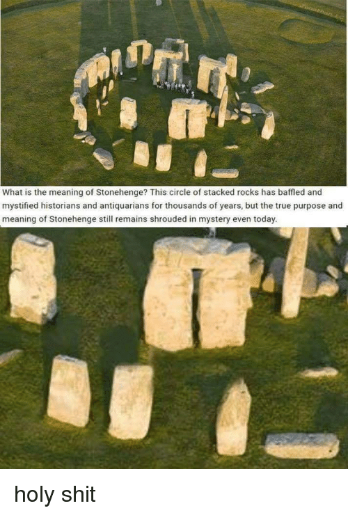 stonehenge: What is the meaning of Stonehenge? This circle of stacked rocks has baffled and  mystified historians and antiquarians for thousands of years, but the true purpose and  meaning of Stonehenge still remains shrouded in mystery even today. holy shit