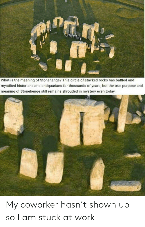 Meaning: What is the meaning of Stonehenge? This circle of stacked rocks has baffled and  mystified historians and antiquarians for thousands of years, but the true purpose and  meaning of Stonehenge still remains shrouded in mystery even today. My coworker hasn't shown up so I am stuck at work