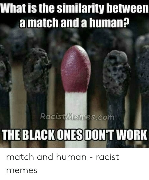 Funny Racist Memes: What is the similarity between  a match and a human?  RacistMemes,co  THE BLACK ONES DON'T WORK match and human - racist memes
