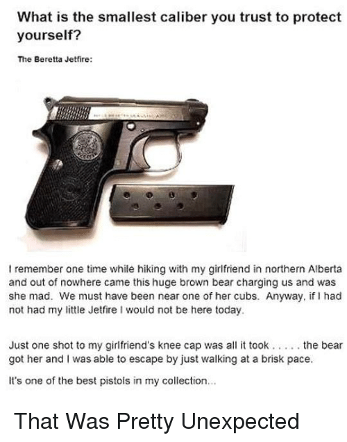 Memes, Bear, and Best: What is the smallest caliber you trust to protect  yourself?  The Beretta Jetfire:  remember one time while hiking with my girlfriend in northern Alberta  and out of nowhere came this huge brown bear charging us and was  she mad. We must have been near one of her cubs. Anyway, if I had  not had my little Jetfire I would not be here today  Just one shot to my girlfriend's knee cap was all it took . the bear  got her and I was able to escape by just walking at a brisk pace.  It's one of the best pistols in my collection... That Was Pretty Unexpected