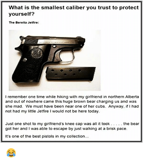 Memes, Bear, and Bears: What is the smallest caliber you trust to protect  yourself?  The Beretta Jetfire:  I remember one time while hiking with my girlfriend in northern Alberta  and out of nowhere came this huge brown bear charging us and was  she mad. We must have been near one of her cubs. Anyway, if had  not had my little Jetfire i would not be here today.  Just one shot to my girlfriend's knee cap was all it took the bear  got her and was able to escape by just walking at a brisk pace.  It's one of the best pistols in my collection... 😂