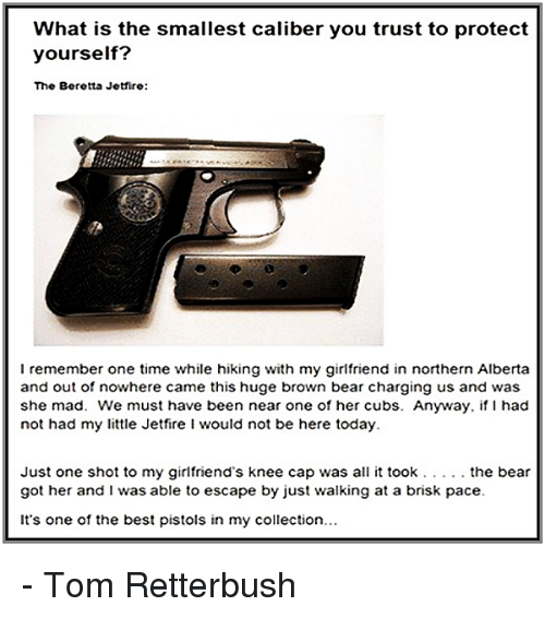 Memes, Bear, and Bears: What is the smallest caliber you trust to protect  yourself?  The Beretta Jetfire:  I remember one time while hiking with my girlfriend in northern Alberta  and out of nowhere came this huge brown bear charging us and was  she mad. We must have been near one of her cubs. Anyway, if had  not had my little Jetfire i would not be here today.  Just one shot to my girlfriend's knee cap was all it took the bear  got her and I was able to escape by just walking at a brisk pace.  It's one of the best pistols in my collection... - Tom Retterbush