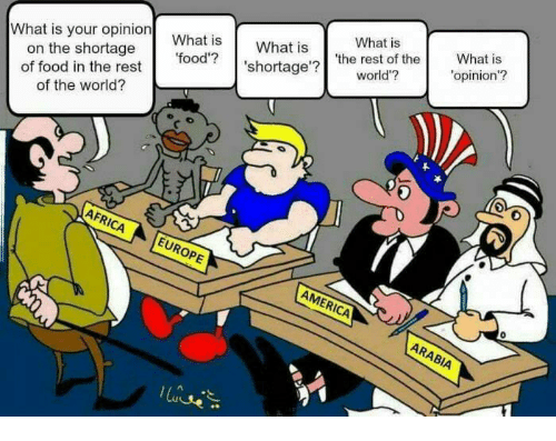 Opness: What is your opinion What is  food'?  What is  on the shortage  of food in the rest  of the world?  What is  'shortage'  'the rest of the  world'?  What  opinion'?  0O  AFRI  Op  AMER  0