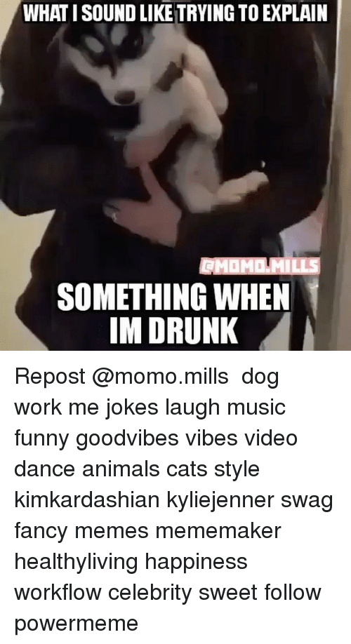 Dancing, Drunk, and Memes: WHAT ISOUND LIKE TRYING TO EXPLAIN  SOMETHING WHEN  IM DRUNK Repost @momo.mills ・・・ dog work me jokes laugh music funny goodvibes vibes video dance animals cats style kimkardashian kyliejenner swag fancy memes mememaker healthyliving happiness workflow celebrity sweet follow powermeme