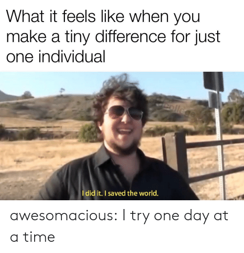 What It Feels Like: What it feels like when you  make a tiny difference for just  one individual  ollege  Idid it. I saved the world. awesomacious:  I try one day at a time