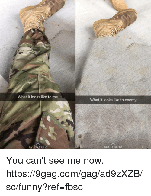 Cant See Me: What it looks like to me  What it looks like to enemy  BDIT& SEND  EDIT & SEND You can't see me now.  https://9gag.com/gag/ad9zXZB/sc/funny?ref=fbsc