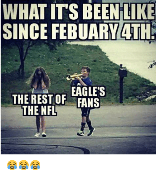 Philadelphia Eagles, Nfl, and Been: WHAT IT'S BEEN LIKE  SINCE FEBUARY 4TH  EAGLE'S  THE REST OF FANS  THE NFL 😂😂😂