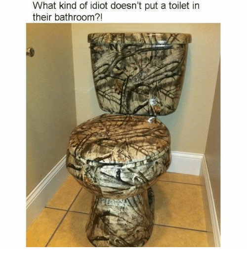 Memes, Idiot, and 🤖: What kind of idiot doesn't put a toilet in  their bathroom?!