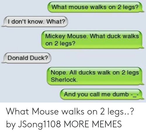 Mickey Mouse: What mouse walks on 2 legs?  l don't know. What?  Mickey Mouse. What duck walks  on 2 legs?  Donald Duck?  Nope. All ducks walk on 2 legs  Sherlock.  And you call me dumb What Mouse walks on 2 legs..? by JSong1108 MORE MEMES