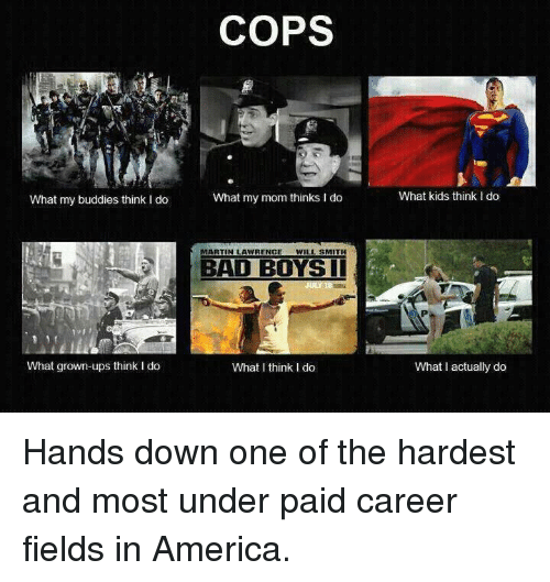 What My Mom Thinks I Do: What my buddies think I do  What grown-ups think I do  COPS  What my mom thinks I do  MARTIN LAWRENCE  WILL SMITH  BAD BOYS II  What I think I do  What kids think Ido  What actually do Hands down one of the hardest and most under paid career fields in America.
