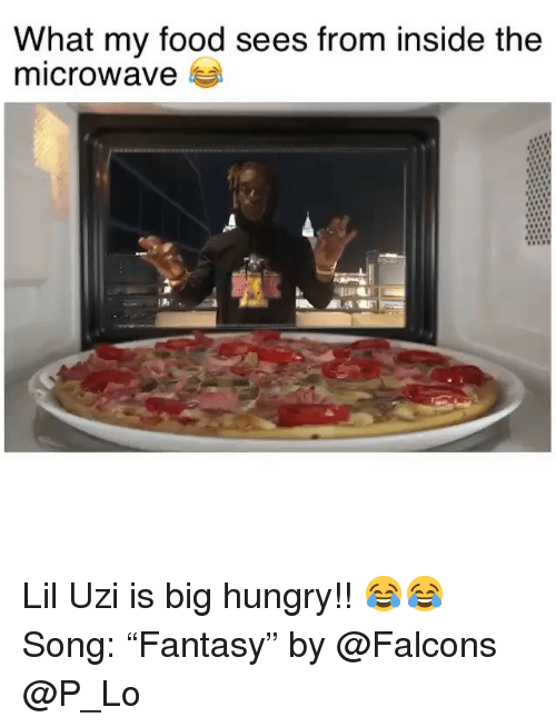 """Food, Funny, and Hungry: What my food sees from inside the  microwave Lil Uzi is big hungry!! 😂😂 Song: """"Fantasy"""" by @Falcons @P_Lo"""