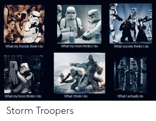 What My Mom Thinks I Do: What my friends think I do  What society thinks I do  What my mom thinks I do  What I actually do  What I think I do  What my boss thinks I do Storm Troopers