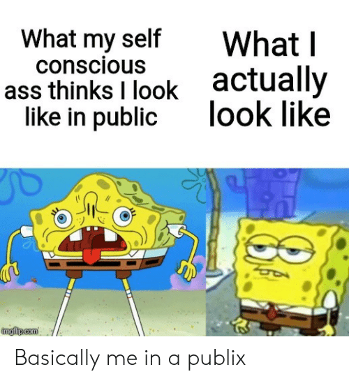 conscious: What my self  conscious  What I  actually  look like  ass thinks I look  like in public  imgflp.com Basically me in a publix