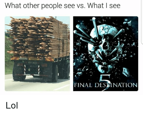 Lol, Memes, and Final Destination: What other people see vs. What l see  NDEK 2843  FINAL DESTINATION Lol