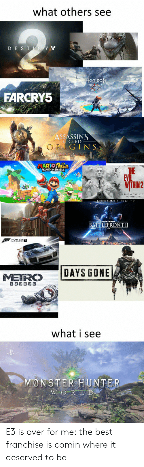 monster hunter: what others see  DE ST  orizo  FARCRY5  ASSASSIN'S  REED  GINS  HE  FRIDAY THE 13  BATTLEFRONT II  MR DAYS GONE  what i see  MONSTER HUNTER E3 is over for me: the best franchise is comin where it deserved to be