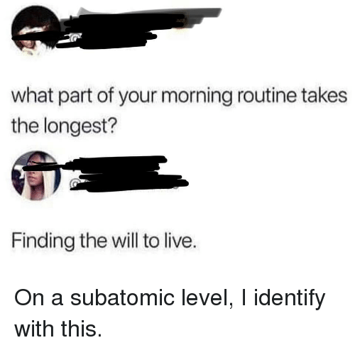 morning routine: what part of your morning routine takes  the longest?  Finding the will to live. On a subatomic level, I identify with this.