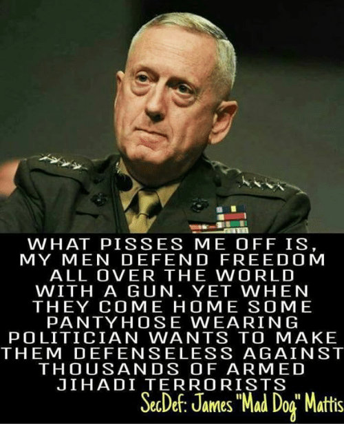 "Freedomed: WHAT PIS SES ME OFF IS  MY MEN DEFEND FREEDOM  ALL OVER THE WORLD  WITH A GUN. YET WHEN  THEY COME HOME SOME  PANTY HOSE WEARING  POLITICIAN WANTS TO MAKE  THEM DEFENSELESS AGAINST  THOUSANDS OF ARMED  JIHADI TERRORISTS  SecDef, James Mad Dog"" Mattis"
