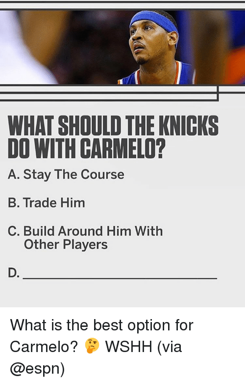 Espn, Memes, and 🤖: WHAT SHOULD THE KNICKS  DO WITH CARMELO?  A. Stay The Course  B. Trade Him  C. Build Around Him With  Other Players  D. What is the best option for Carmelo? 🤔 WSHH (via @espn)