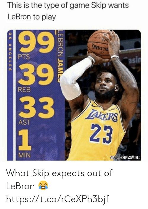Lebron, What, and Out: What Skip expects out of LeBron 😂 https://t.co/rCeXPh3bjf