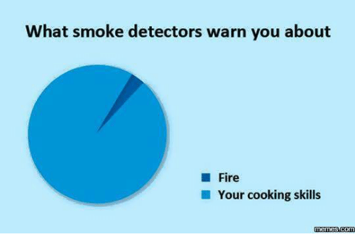 warne: What smoke detectors warn you about  Fire  Your cooking skills  memes-Com