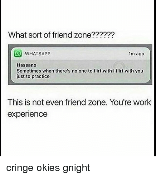 Evenement: What sort of friend zone??????  WHATSAPP  1m ago  Hassano  Sometimes when there's no one to flirt with I flirt with you  just to practice  This is not even friend zone. You're work  experience cringe okies gnight