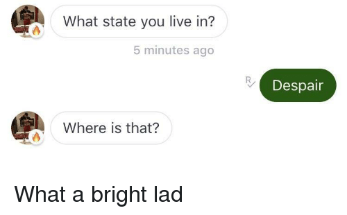 Despair: What state you live in?  5 minutes ago  Despair  Where is that? What a bright lad