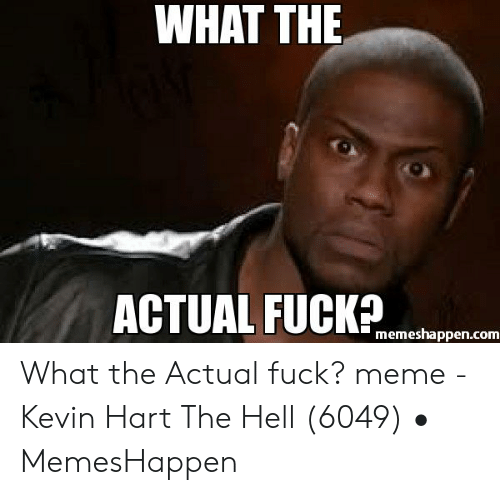 What The Hell Meme: WHAT THE  ACTUAL FUCKP  memeshappen.com What the Actual fuck? meme - Kevin Hart The Hell (6049) • MemesHappen