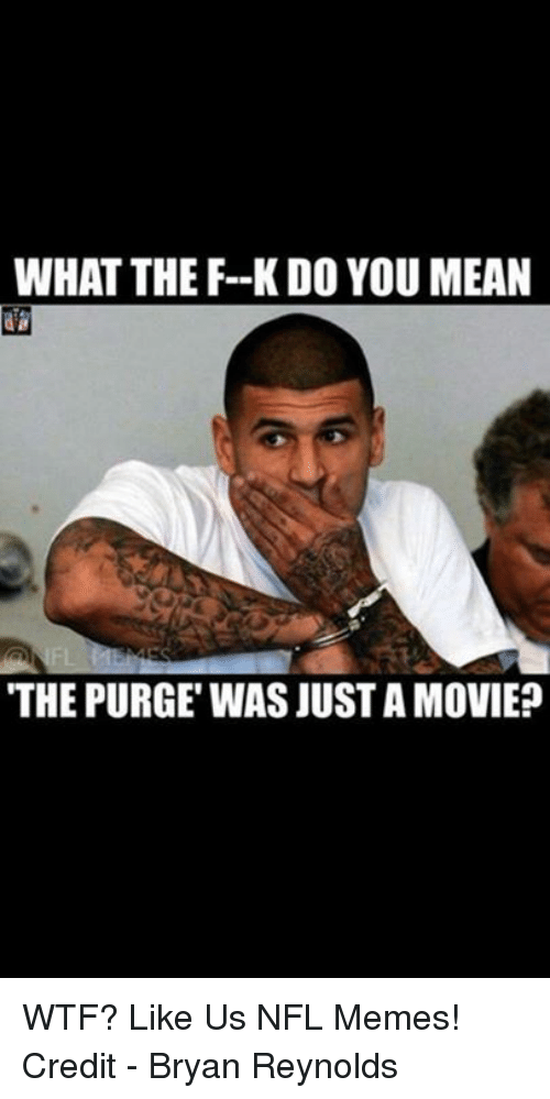 The Purge: WHAT THE F--K DO YOU MEAN  THE PURGE WAS JUST A MOVIE? WTF?  Like Us NFL Memes!  Credit - Bryan Reynolds