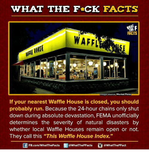 """Dank, Waffle House, and Nature: WHAT THE FCK FACTS  FACTS  WImage source Mental Floss  If your nearest Waffle House is closed, you should  probably run. Because the 24-hour chains only shut  down during absolute devastation, FEMA unofficially  determines the severity of natural disasters by  whether local Waffle Houses remain open or not.  They call this """"This Waffle House Index.""""  FB.com/WhatThe Facts  @What'TheFFacts  a WhatTheFFact"""