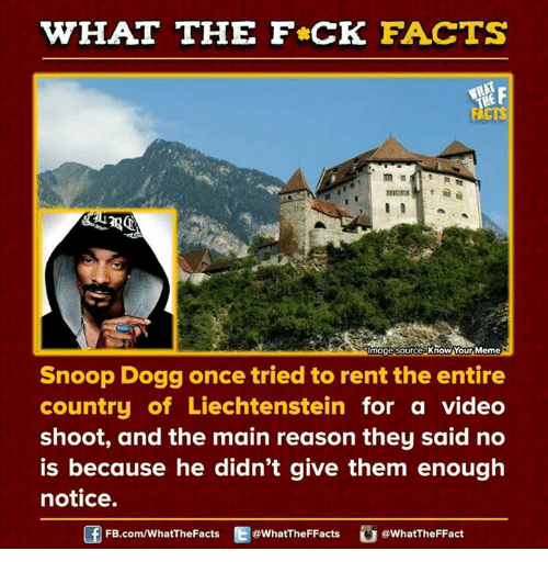 Dank, Snoop, and Snoop Dogg: WHAT THE FCK FACTS  Umagesource knowAYour Meme  Snoop Dogg once tried to rent the entire  country of Liechtenstein for a video  shoot, and the main reason they said no  is because he didn't give them enough  notice.  FB.com/WhatThe Facts  @WhatTheFFacts  @WhatTheFFact