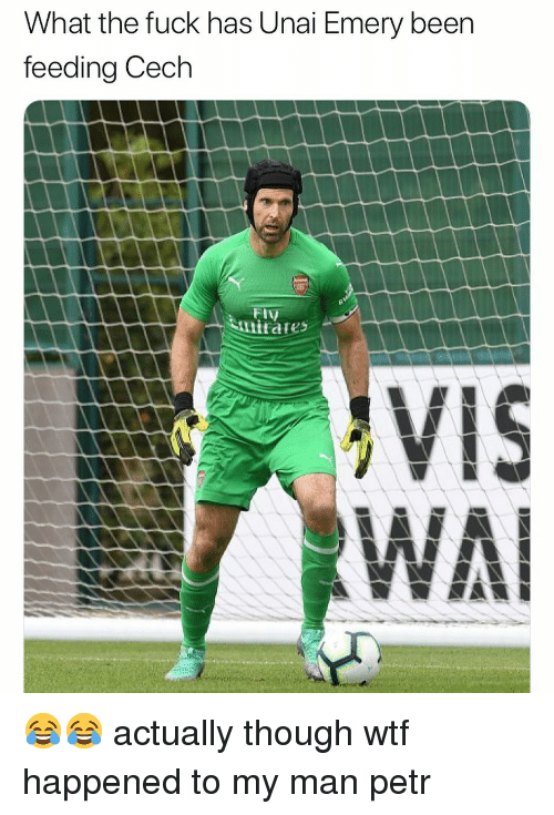 cech: What the fuck has Unai Emery been  feeding Cech  El  VIS 😂😂 actually though wtf happened to my man petr