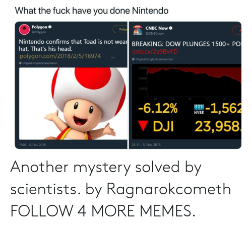 Mystery Solved: What the fuck have you done Nintendo  Polygon  CNBC Now  Folge  @Polygon  CNBC @CNBCnow  Nintendo confirms that Toad is not wear BREAKING: DOW PLUNGES 1500+ PO  hat. That's his head.  cnb.cx/259BVYD  polygon.com/2018/2/5/16974  6Original (Englisch) übersetzen  Original (Englisch) übersetzen  25500  25000  24500  10  11  12  -6.12% -1,562  23,958  NYSE  DJI  21:11 5. Feb. 2018  19:03-5. Feb. 2018 Another mystery solved by scientists. by Ragnarokcometh FOLLOW 4 MORE MEMES.
